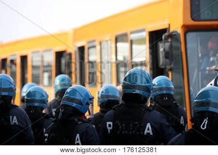 Riot Police While Escorting The Bus To The Stadium