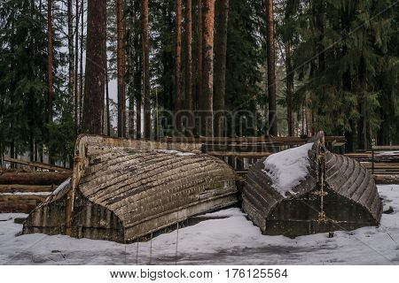 Lonly Boats In The Scandinavian Woods In Winter