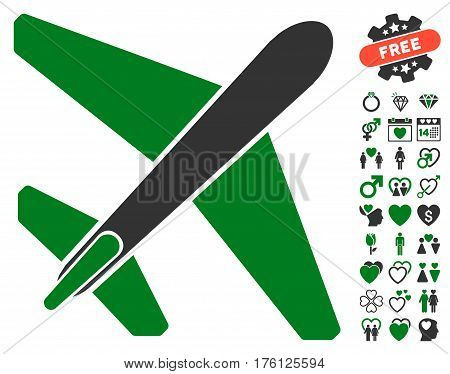 Jet Airplane pictograph with bonus dating design elements. Vector illustration style is flat iconic green and gray symbols on white background.