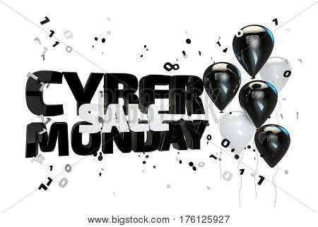 Cyber monday sale poster, banner with balloons and confetti isolated on white. 3D illustration
