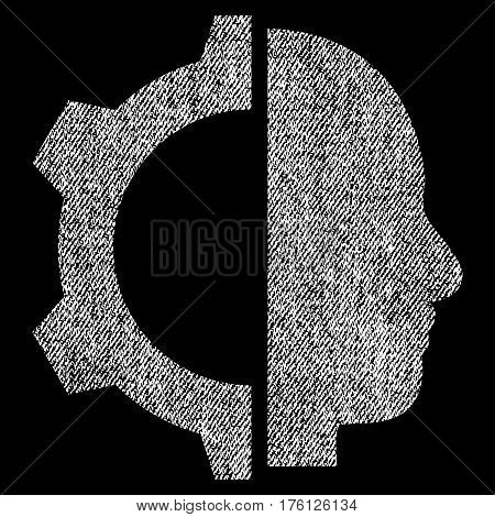 Cyborg Gear vector textured icon for overlay watermark stamps. Fabric white vectorized texture. Symbol with dust design. Rubber seal stamp with fiber textile structure.