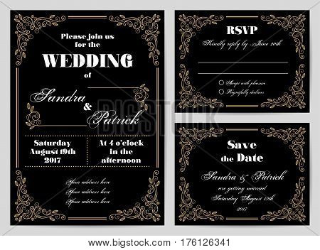 Set of wedding cards in retro style with decorative design elements. Vector illustration