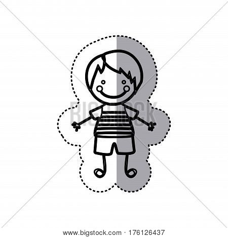sticker sketch silhouette caricature boy with straight hair vector illustration