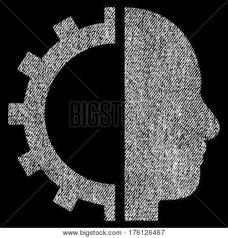 Cyborg Gear vector textured icon for overlay watermark stamps. Fabric white vectorized texture. Symbol with unclean design. Rubber seal stamp with fiber textile structure.