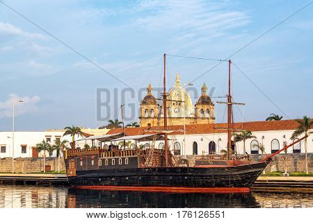 Pirate Ship And Church View