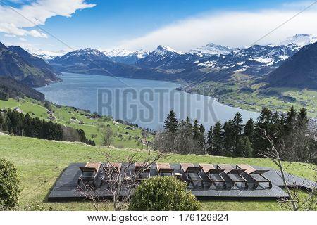 Lake Lucerne landscape taken from the Buergenstock mountain resort