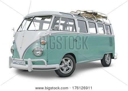 STUTTGART BADEN-WUERTTEMBERG/GERMANY - MARCH 6 2017: Illustrative editorial side view of a historic volkswagen van with baggage rack.