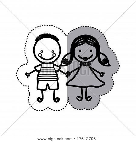 sticker sketch silhouette caricature couple boy with hairstyle and girl with hair pigtails vector illustration