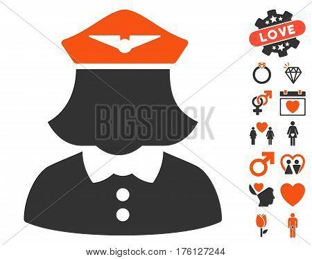 Airline Stewardess pictograph with bonus lovely symbols. Vector illustration style is flat iconic orange and gray symbols on white background.