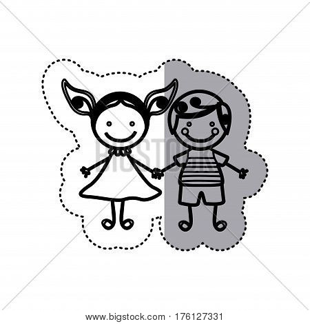 sticker sketch silhouette caricature couple boy with curly hair and girl with dress vector illustration