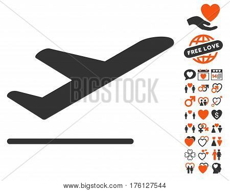 Airplane Departure pictograph with bonus valentine icon set. Vector illustration style is flat iconic orange and gray symbols on white background.