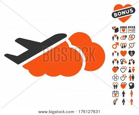 Airplane Over Clouds pictograph with bonus love pictograph collection. Vector illustration style is flat iconic orange and gray symbols on white background.
