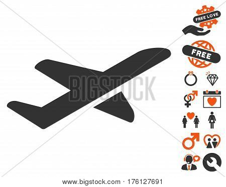 Airplane Takeoff pictograph with bonus valentine pictograms. Vector illustration style is flat iconic orange and gray symbols on white background.