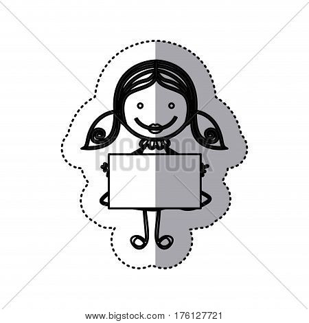 sticker sketch silhouette caricature girl with hair pigtails and banner vector illustration