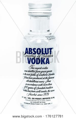 Small bottle Absolute Vodka 50ml isolate background