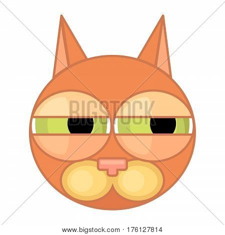 Cartoon cat face icon with narrow eyes and contour isolated on white background. Emotional icon suspicion.