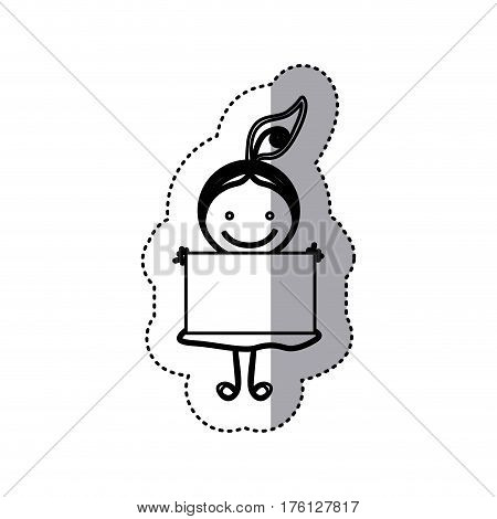 sticker sketch silhouette caricature girl with hair tail and banner vector illustration