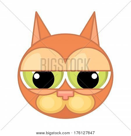 Cartoon cat's face icon with drooping eyes and contour isolated on white background. Emotion of despondency guilt despair.