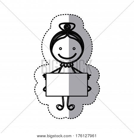 sticker sketch silhouette caricature girl with collected hair and banner vector illustration
