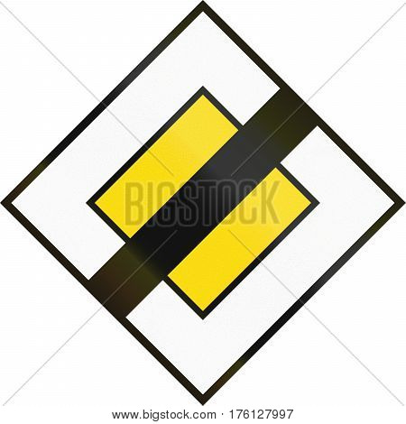 Cyprian Regulatory Road Sign - End Of Priority Road