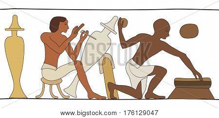 Vector illustration of Egyptian national drawing. Artisans make a jug of clay.