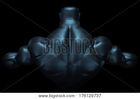 3D Rendering of Muscular Man's Back
