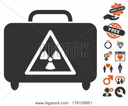 Dangerous Luggage pictograph with bonus love pictograph collection. Vector illustration style is flat iconic orange and gray symbols on white background.
