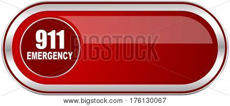 Number emergency 911 red long glossy silver metallic banner. Modern design web icon for smartphone applications