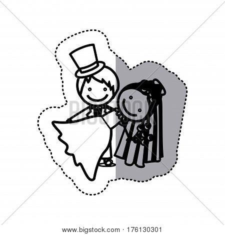 sticker sketch silhouette caricature couple wedding icon vector illustration