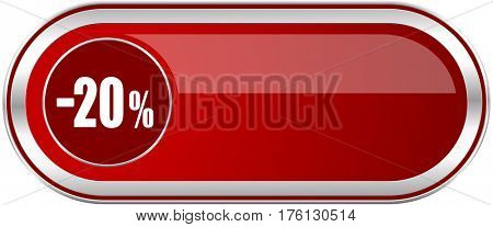 20 percent sale retail red long glossy silver metallic banner. Modern design web icon for smartphone applications