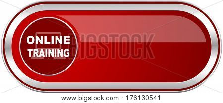 Online training red long glossy silver metallic banner. Modern design web icon for smartphone applications