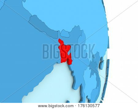 Bangladesh On Blue Political Globe