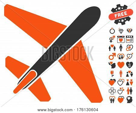 Jet Airplane pictograph with bonus valentine graphic icons. Vector illustration style is flat iconic orange and gray symbols on white background.