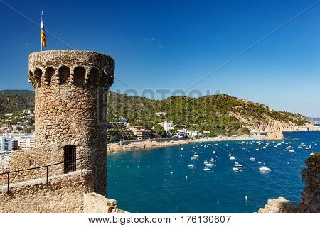 View Of The Fortress Tower And Coastline In Tossa Del Mar At Noon
