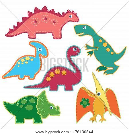 The set of cute bright dinosaurs patches vector illustration. Cardboard dino style
