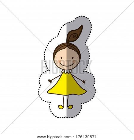 sticker colorful caricature girl with hair tail vector illustration