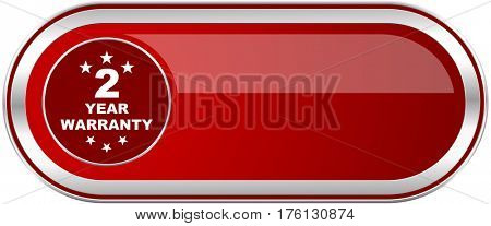 Warranty guarantee 2 year red long glossy silver metallic banner. Modern design web icon for smartphone applications