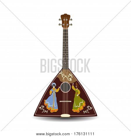 Vector illustration of traditional russian balalaika with dancing women silhouettes isolated on white background. Folk musical instrument flat style design.