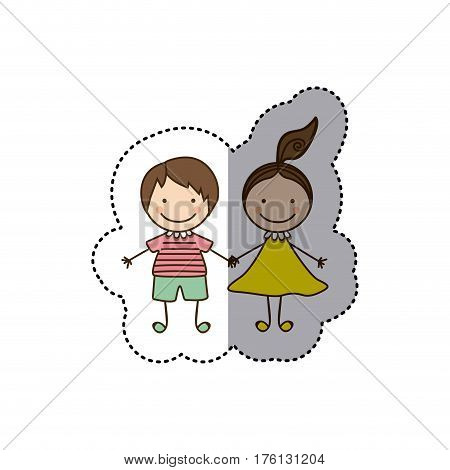 sticker colorful caricature couple boy and girl with hair tail vector illustration