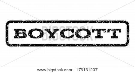 Boycott watermark stamp. Text caption inside rounded rectangle frame with grunge design style. Rubber seal stamp with dust texture. Vector black ink imprint on a white background.