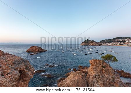 View Of The Fortress And The Coastline In Tossa Del Mar In The Early Morning