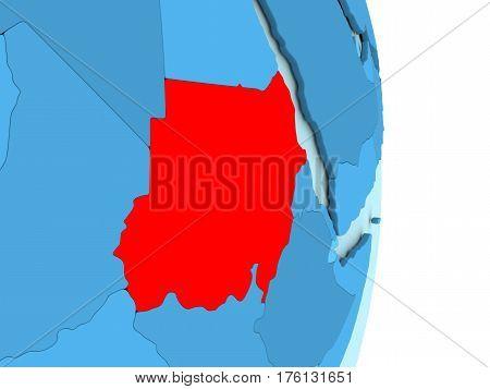 Sudan On Blue Political Globe