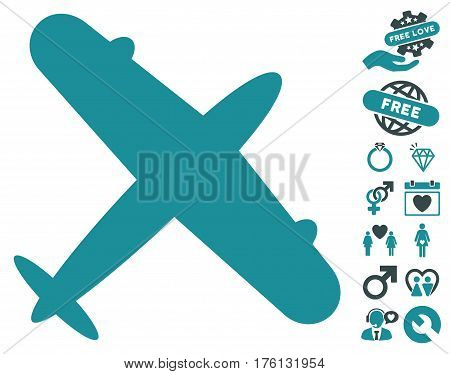 Aeroplane pictograph with bonus lovely clip art. Vector illustration style is flat iconic soft blue symbols on white background.