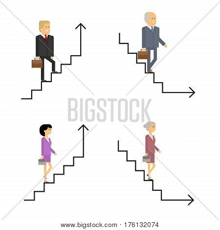 Business path career growth and completion of a career. The man is walking up the stairs. A woman is walking on the stairs. Vector material design