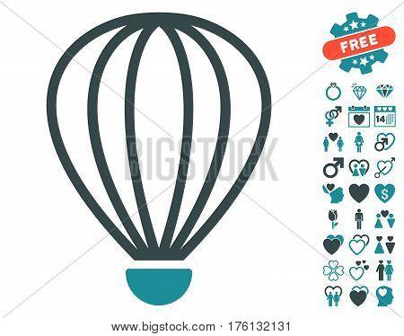 Aerostat icon with bonus valentine icon set. Vector illustration style is flat iconic soft blue symbols on white background.