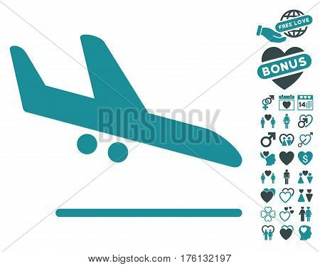 Aiplane Landing icon with bonus valentine graphic icons. Vector illustration style is flat iconic soft blue symbols on white background.