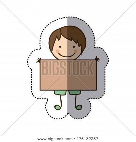 sticker colorful caricature boy with straight hair and banner vector illustration