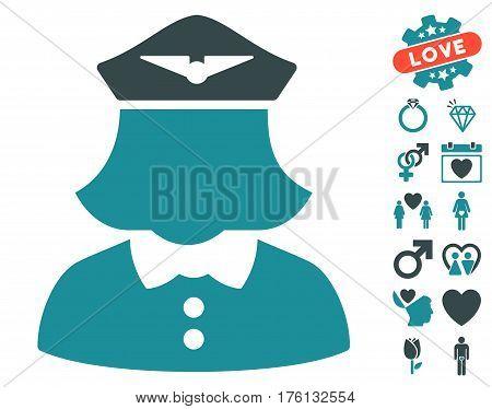 Airline Stewardess icon with bonus love icon set. Vector illustration style is flat iconic soft blue symbols on white background.