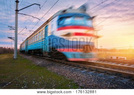 High Speed Passenger Electric Train In Motion