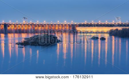 Dam At Night. Beautiful Industrial Landscape